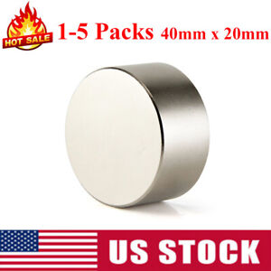 1 5pcs Large 40mm X 20mm Neodymium Rare Earth Magnet Big Super Strong Huge N52