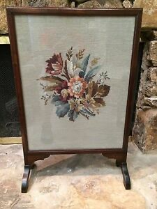 Antique Vintage Victorian Mahogany Firescreen Fireplace Needlepoint Flowers