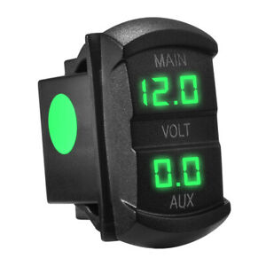 12 24 Volt Green Led Double Voltmeter Voltage Monitor For Marine Boat Car Ma1746