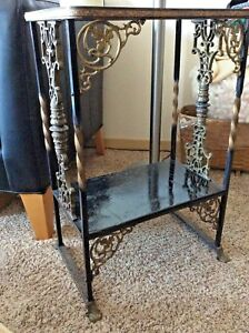 Antique Victorian Ornate Garden Iron Side Table Or Plant Stand