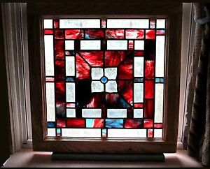 Leaded Stained Glass Window Beveled Clear Marbleized Burgundy Squares 2 Avaiable