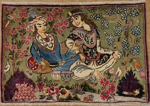 Persian Kashmar Pictorial Faces Birds Hand Knotted Wool Red Oriental Rug 2 X 3