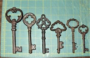 Mixed Lot Of 6 Ornate Cast Iron Rust Antique Style Skeleton Keys 6