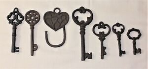Mixed Lot Of 7 Ornate Cast Iron Rust Antique Style Skeleton Keys