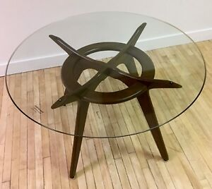 Adrian Pearsall Compass Dining Table W New Tempered Glass Top Mid Century Mcm
