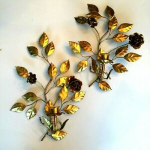 Lovely Vtg Hollywood Recency Italian Tole Toleware Gold Gilt Roses Wall Sconces