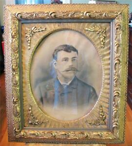 Large Ornate Antique Picture Frame Wood Carved Gold Oval Photo Man