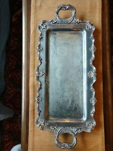 Vintage Rectangular Silverplate Footed Tray W Handles 26 X11 5