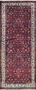 One Of A Kind Traditional Hamedan Persian Hand Knotted 3x8 Blue Wool Runner Rug