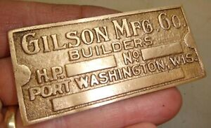 Gilson Cast Brass Name Tag Reproduction Hit And Miss Old Gas Engine