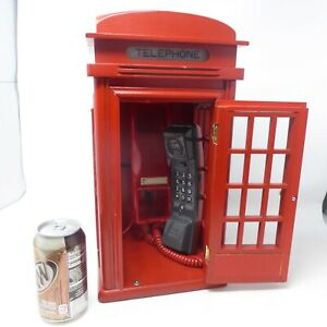 Red London Telephone Booth Wooden Phone Box With Working Lights Up When Ringing