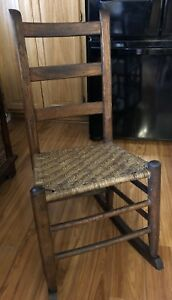 Antique Rustic Ladder Back Rocking Chair Woven Rush Seat Shaker Style Guc