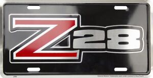 Chevy Camaro Z28 Metal License Plate Sign Tag Embossed Bow Tie