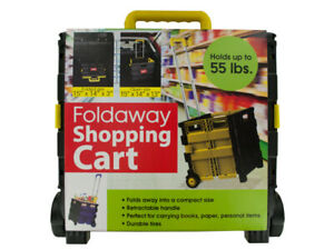 Collapsible Handle Foldaway Shopping Cart On Wheels Smart Tote Storage