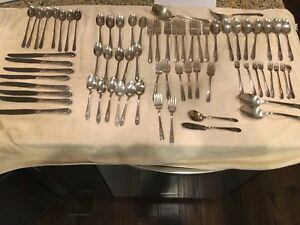 71 Pieces Wm Rogers Reflections Flatware Silver Plate Set Cocktail Fork Teaspoon