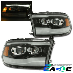 19 Ram Style Polished Black Drl Projector Headlights For 2009 2018 Dodge Ram