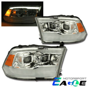 19 Style Led Drl Projector Chrome Headlights For 09 18 Dodge Ram 1500 2500 3500
