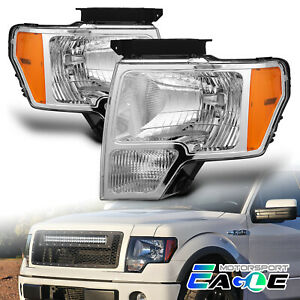 2009 2014 Ford F 150 Truck Chrome Factory Style Headlights Head Lamps Pair