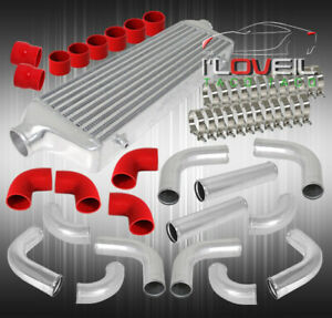 Fmic Bar And Plate Turbo Intercooler 3 12pcs Pipe Kit Polish red Coupler clamps
