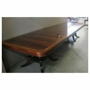 Henredon Flame Mahogany Satinwood 12 Plus Long Dining Room Conference Table