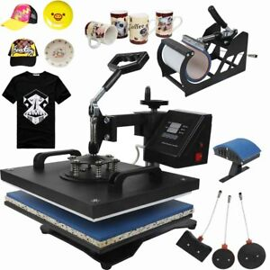 Us 5 In1 Digital Heat Press Machine Transfer Kit Sublimation T shirt Cup Cap Hat