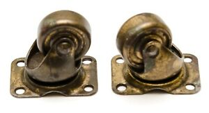Set Of 2 Antique Vintage Metal Swivel Wheel Furniture Caster