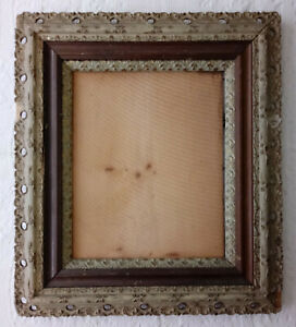 Antique Victorian Reticulated Gesso Wood Gold Painting Picture Art Frame Large