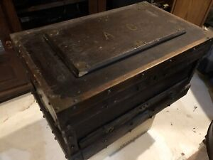 Open To Offers Antique 1800s Carpenters Wood Tool Chest Trunk Lots Of Brass