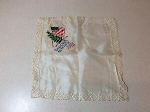 World War I Wwi Silk Lace 1918 Souvenir De France Hankerchief Antique