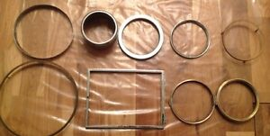 Vintage Clock Chrome Glass Frames Square Round Chrome Brass Spare Parts