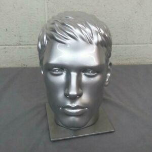 Detailed Life Size Silver Male Mannequin Display Head W metal Base Excellent