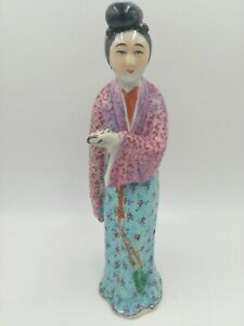 Antique Vintage Chinese Famille Lady Figurine Statues Porcelain China