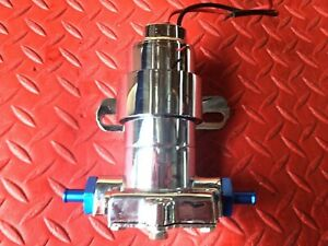 Electric Fuel Pump 7 Psi Red Chrome High Performance 115 Gph W Fittings