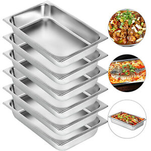 Vevor 6 pack Full Size 4 Deep Silver Stainless Steel Hotel Steam Table Pans