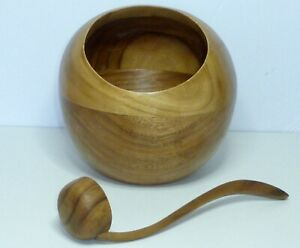Mid Century Danish Modern Style Vintage Round Orb Globe Wood Nut Bowl With Scoop