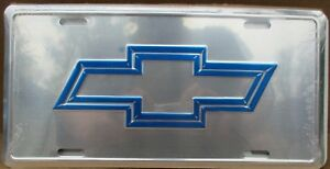 Chevy Embossed Bow Tie On Polished Aluminum License Plate Chevrolet