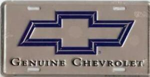 Chevy Genuine Chevrolet License Plate Silver Blue Bow Tie Sign Tag
