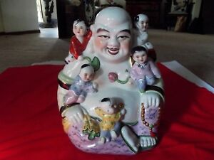 Huge 12 Buddha 5 Children Statue Figure Famille Rose Porcelain Chinese Republic