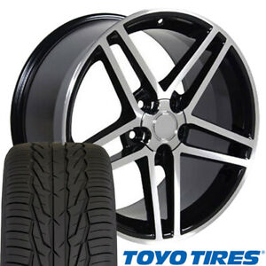 Cp 17 Wheel Tire Set Fit Corvette C6 Z06 Style Blk Mach D Rims Toyo X
