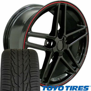 Cp 17 Wheel Tire Set Fit Corvette C6 Z06 Style Black W Red Rims Toyo X