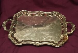 Vintage Eton Silver Plated Footed Butler S Tray Serving Plate Ornate 24