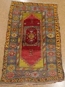 Antique Turkish Rug Hand Knotted Wool Red Blue Distressed Vintage Oriental 4 X 5
