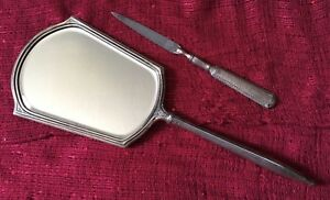 Webster Company Antique Sterling Silver Mirror Nail File Set Hammered No Mono