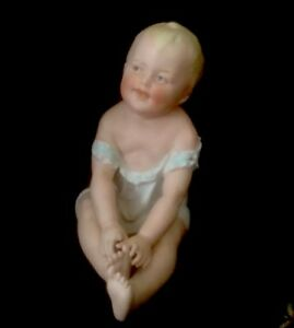 Antique 5 Gebruder Heubach Piano Baby Hp Bisque Porcelain Figurine Germany