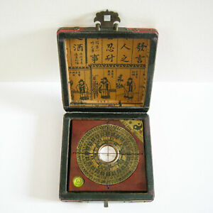 Vintage Chinese Compass In Leather Surface Wood Case 13 13cm Works China