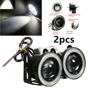2x3in 12v 3200lm Led Projector Fog Light Style Round Amber Angel Eye Halo Truck