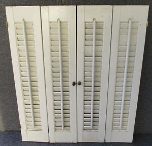 White Painted Pine Louvered Interior Window Shutters 24 1 2 X 28 High