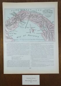 Vintage 1902 Dated Panama Canal Birds Eye View Map 11 X14 Old Antique Mapz