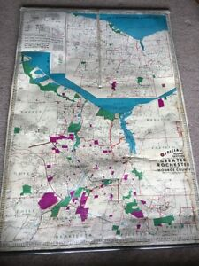 Vintage Hearne Brothers Pull Down Map Of Rochester Ny Western Ny Region 64x44