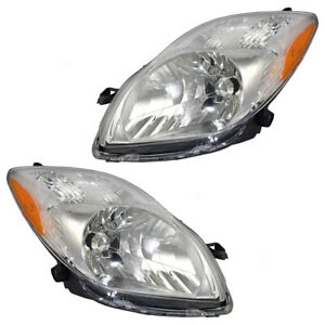 New Pair Set Headlight Headlamp Lens Unit For 09 11 Toyota Yaris Hatchback